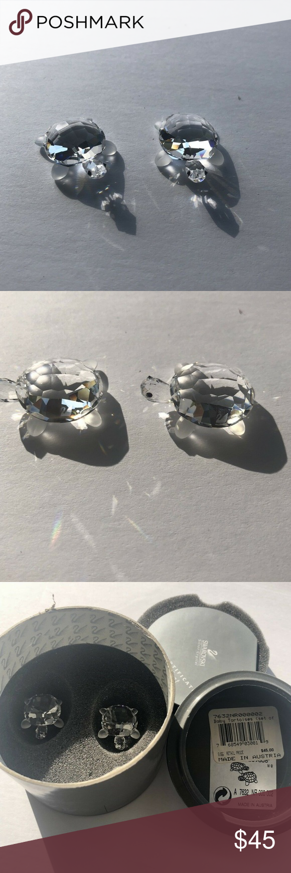 Swarovski Crystal Baby Tortoises Set Of 2 NIB Mint Baby