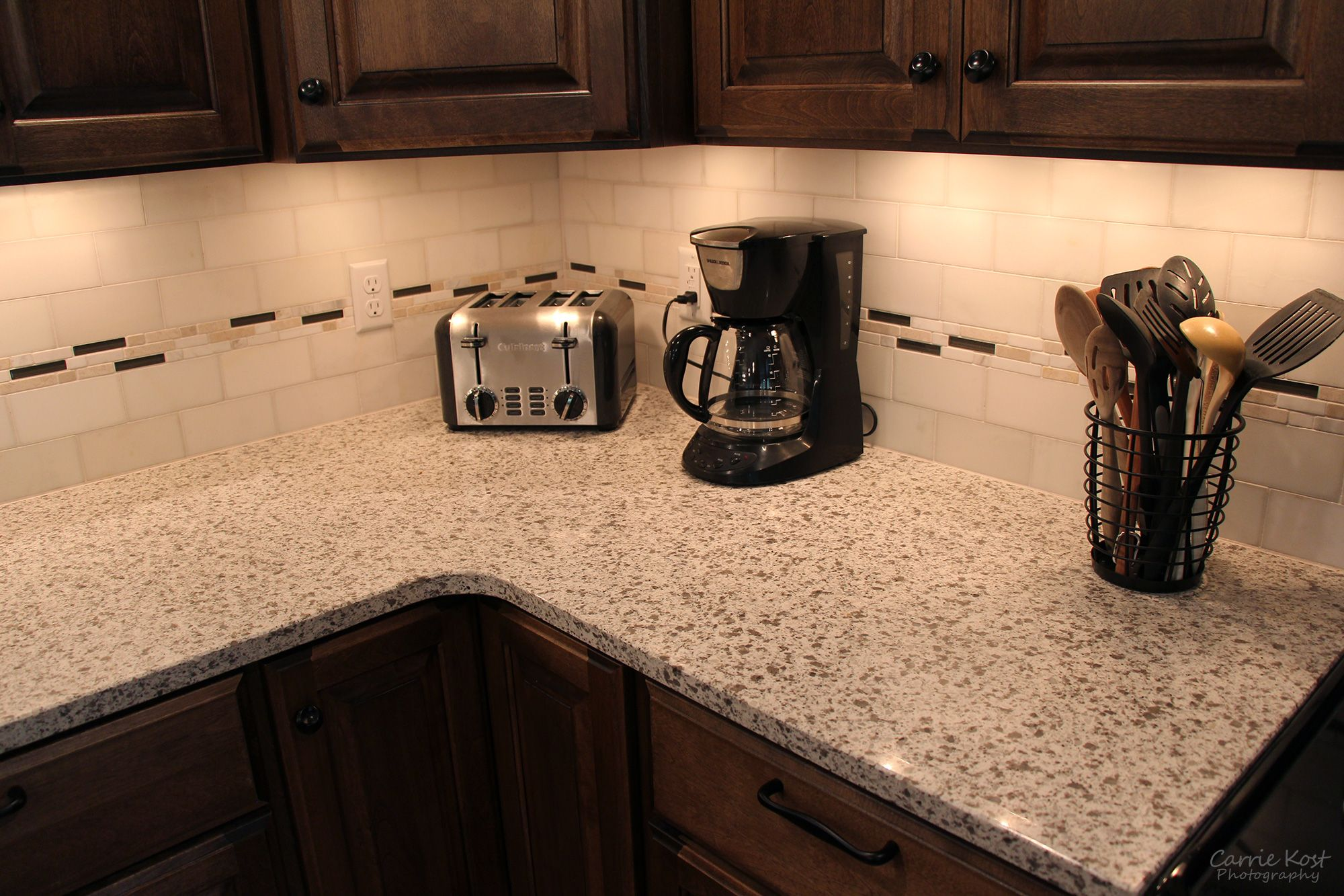 These Custom Quartz Countertops Are Smooth And Seamless. Soft Cream Colored  Marble Subway Tile And