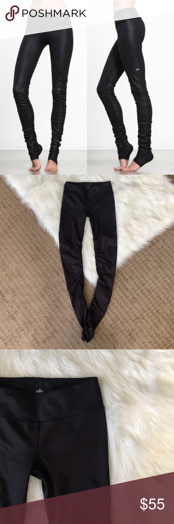 2a83a55840 ALO Yoga Idol Ruched Legging Black Glossy! Pull it over the heel or scrunch  it