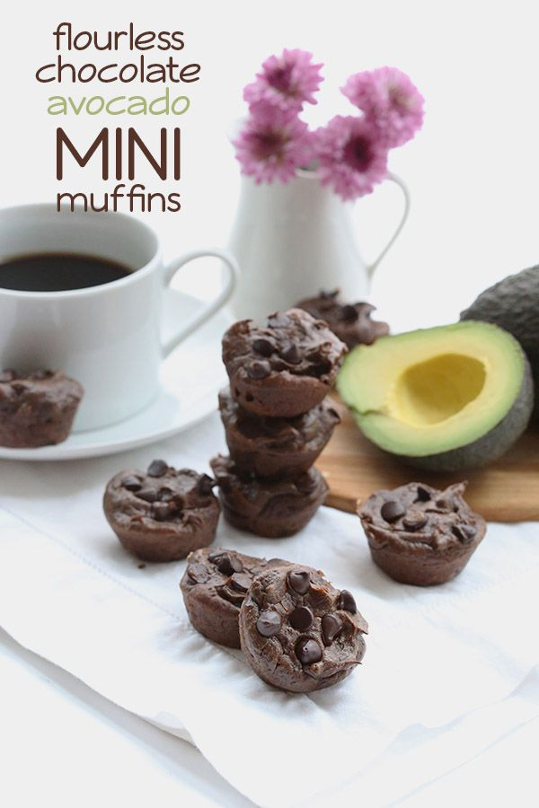 Delicious low carb mini chocolate muffins made with avocados. No flour needed. Nut-free and sugar-free.