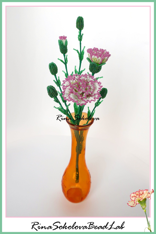 Pdf Pattern French Beaded Spray Carnations French Beaded Flowers Beaded Flower Tutorial Beaded Flower Project French Beaded Flowers Beaded Flowers Flower Tutorial