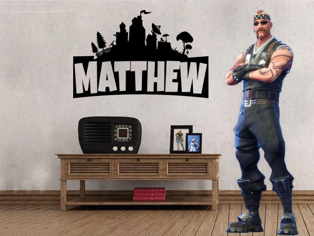 inspired by fortnite custom personalized name wall decal on wall stickers design id=84362