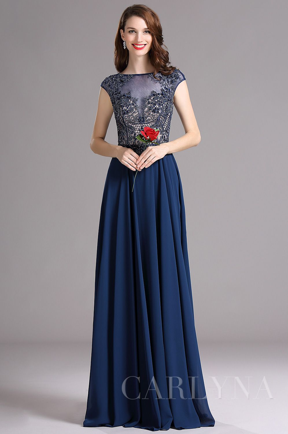Usd carlyna blue cap sleeves illusion neckline beaded prom