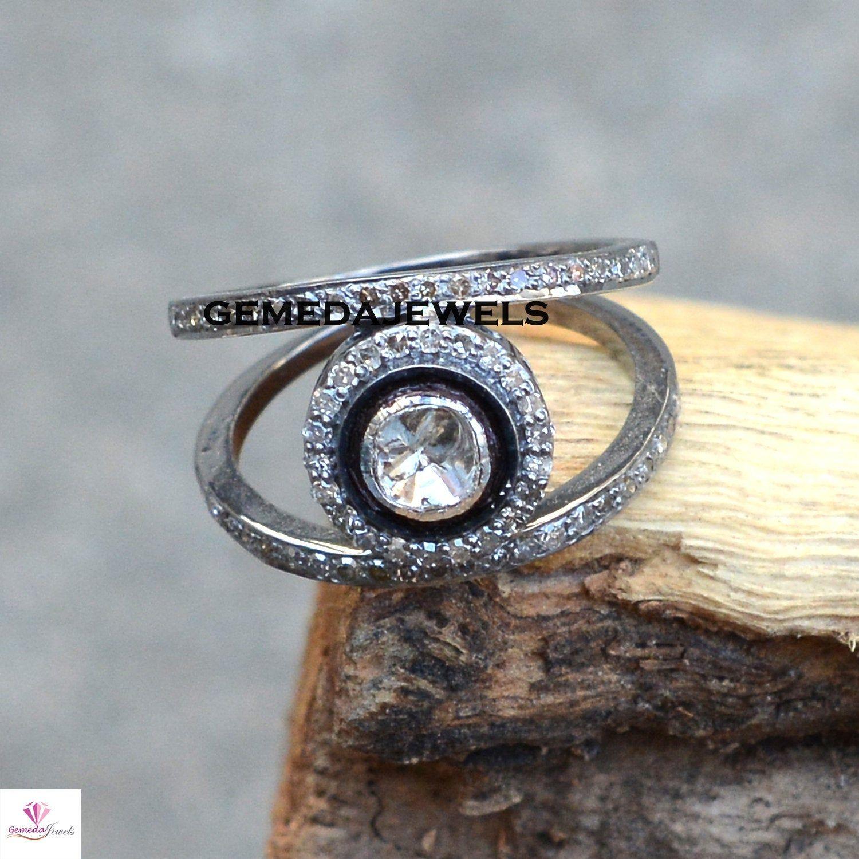 Handmade Engagement Ring New Arrival 925 Sterling Silver Genuine Polki /& Pave Diamond Fine Ring