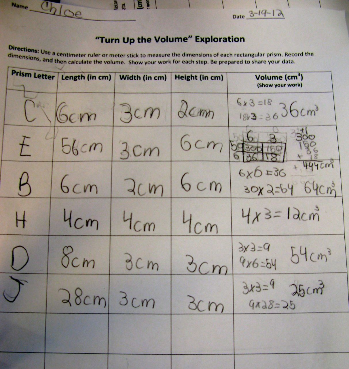 Calculating Volume Worksheet