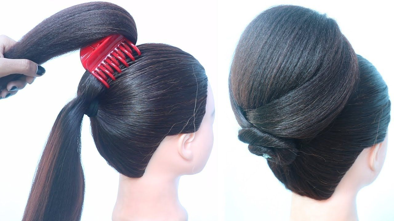 Latest Big Juda Hairstyle With Clutcher Hair Style Girl