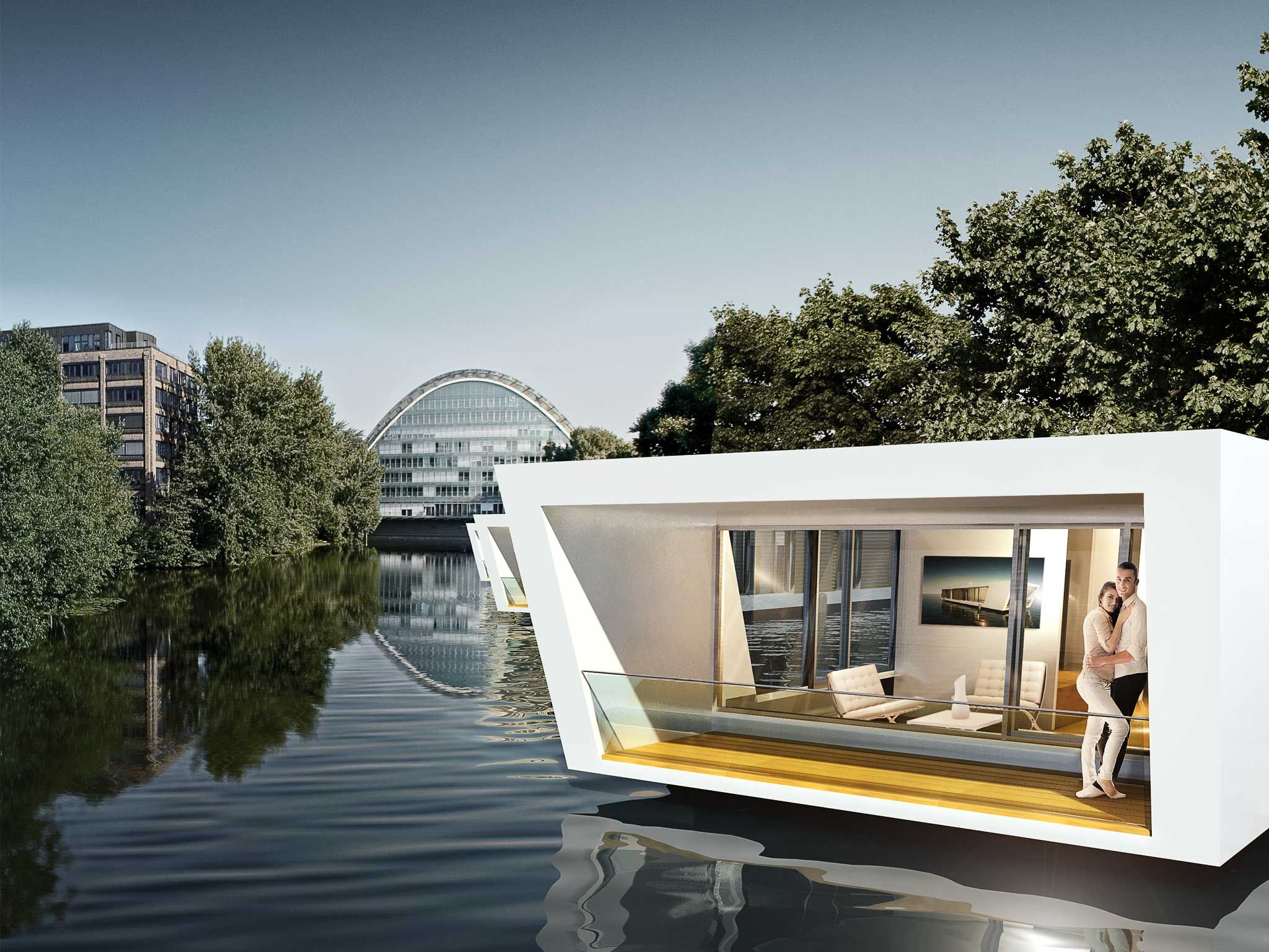 floating homes in hamburg architecture pontoon house on water houseboats floating. Black Bedroom Furniture Sets. Home Design Ideas