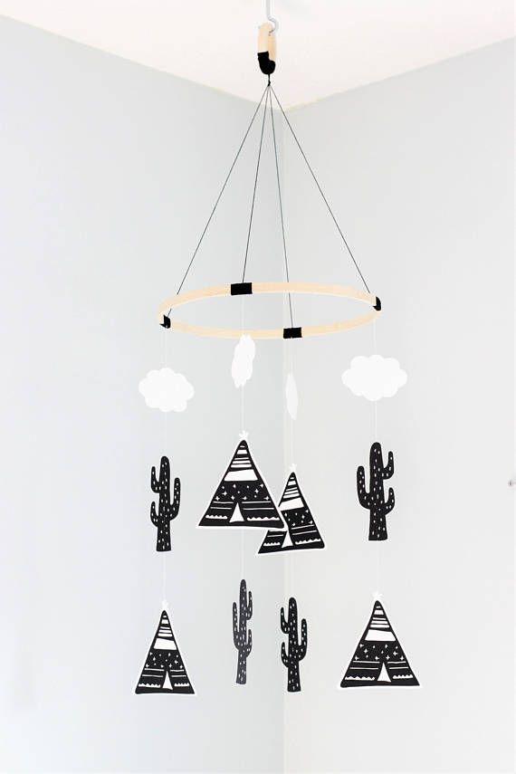 Teepee mobile, cactus mobile, baby mobile, nursery mobile, teepee ...