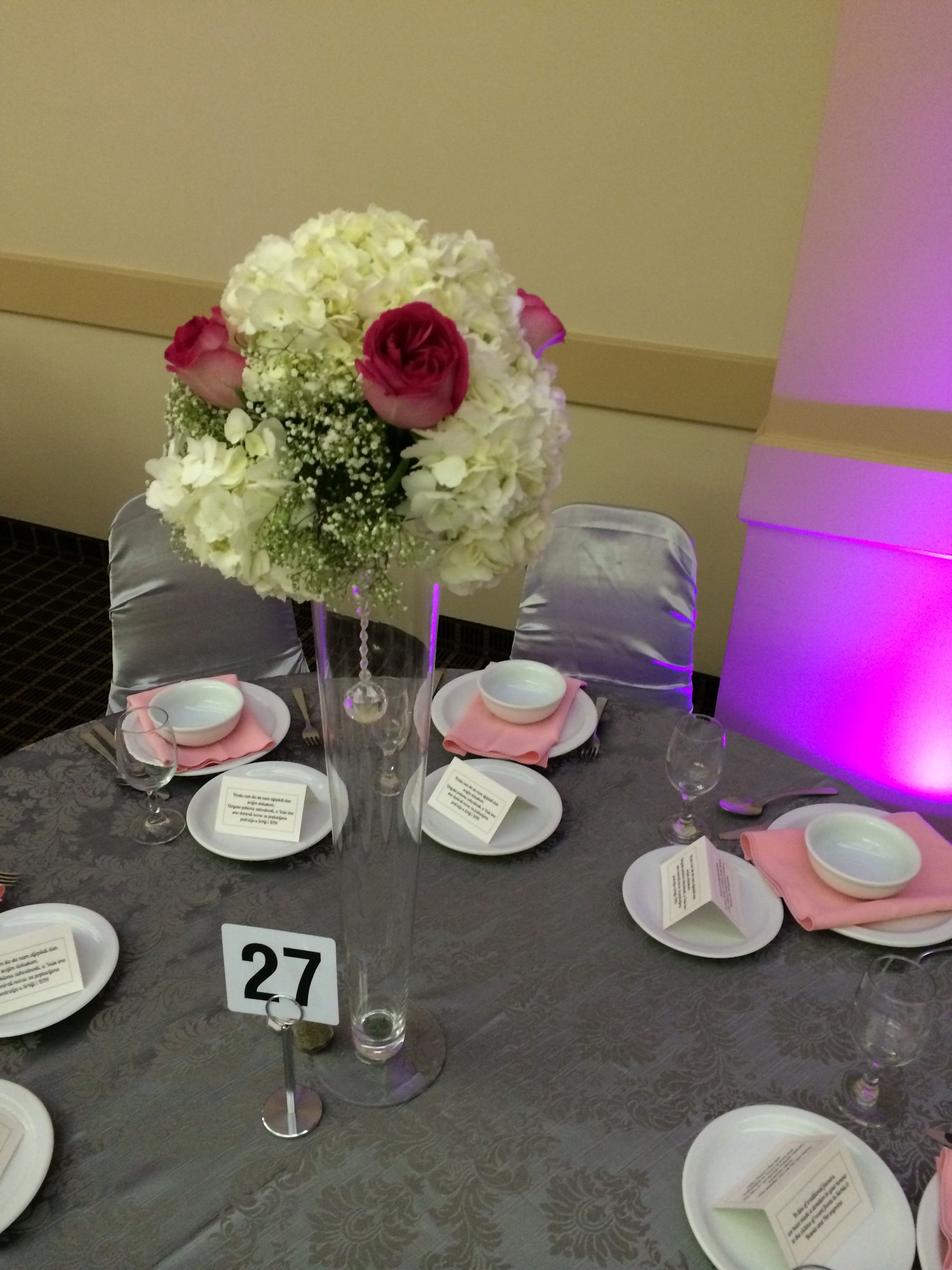Pink rose and white hydrangea centerpiece by Royal Room weddings