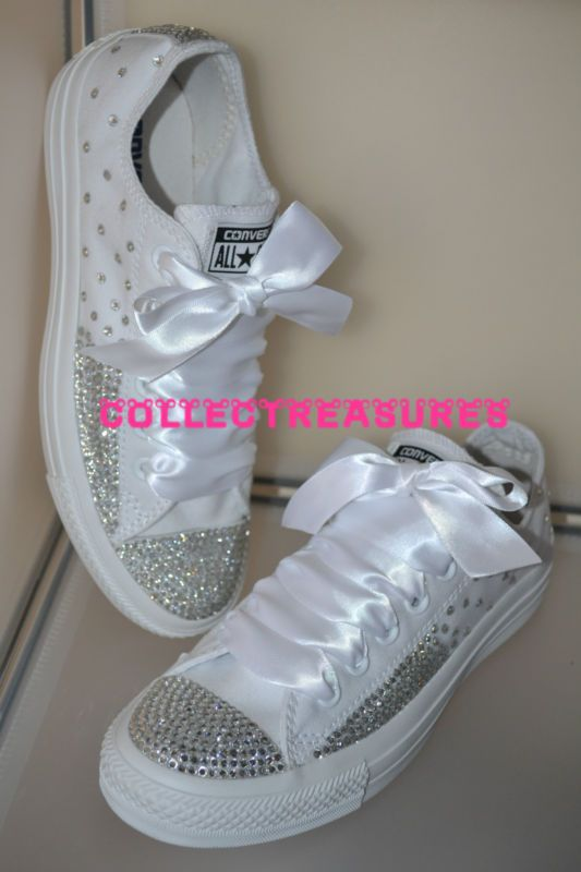 532c902111c8 Custom Crystal Diamante Bling Wedding White MONO Converse Size UK 3 4 5 6 7  8 9