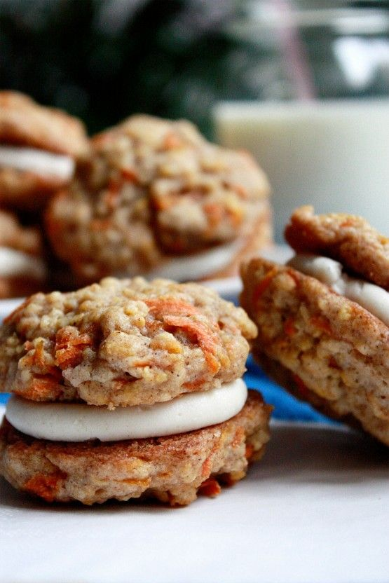 Carrot Cake Cookies with Cream Cheese Frosting Filling - LOVE carrot cake & this sounds yummy