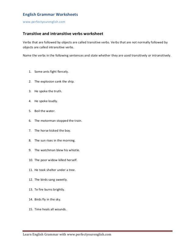 Image Result For Transitive And Intransitive Verbs Worksheets Grade