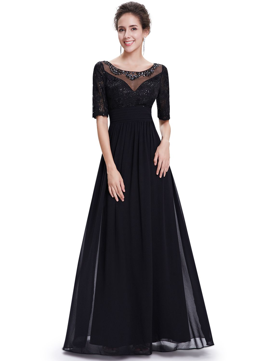 Elegant half sleeve back zipper maxi prom evening dress prom