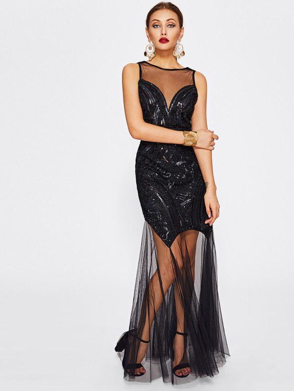 56683fb89bb Illusion Neckline Open Back Mesh Contrast Sequin Dress -SheIn(Sheinside)