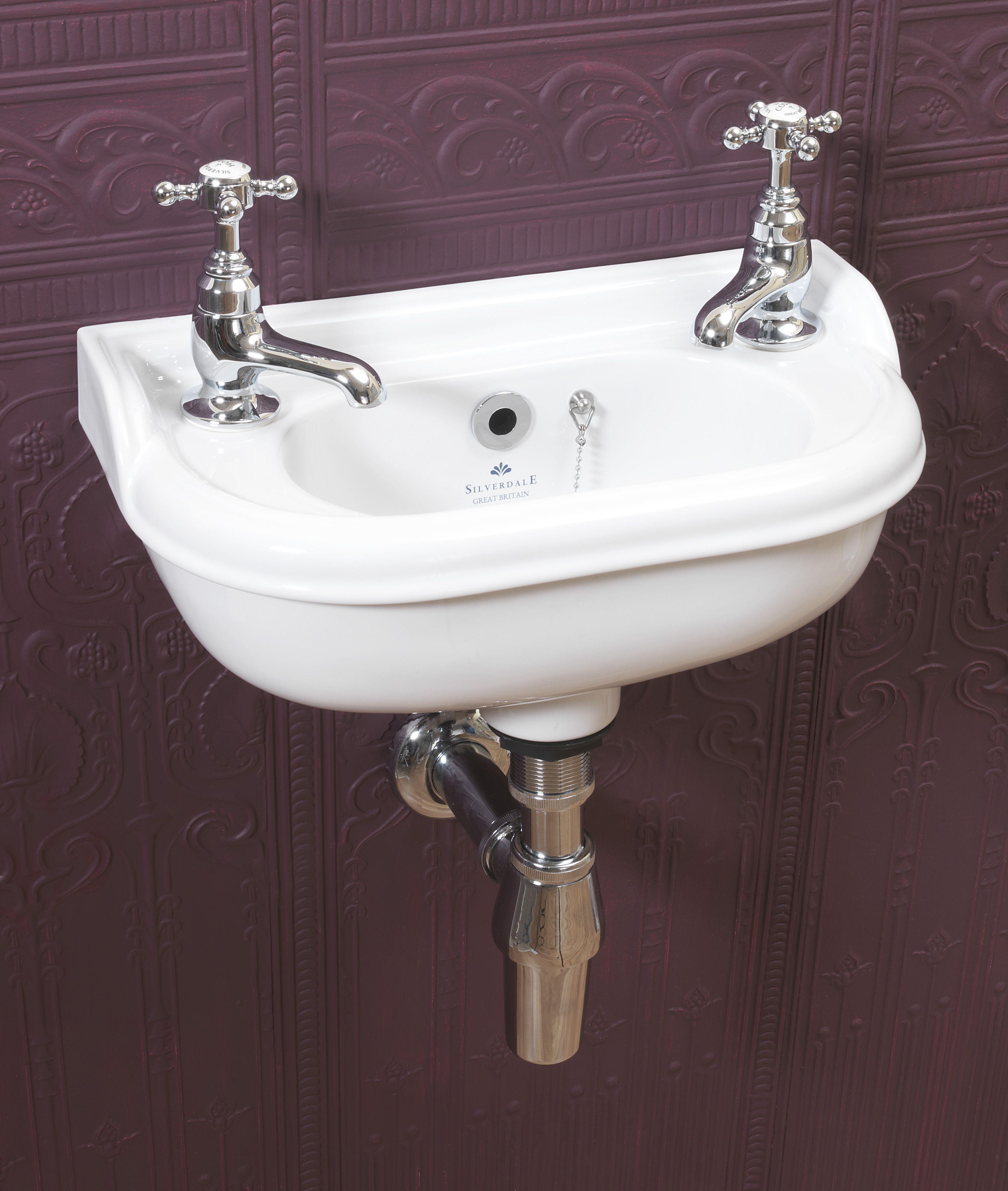 Victorian Micro Basin with chrome pillar taps