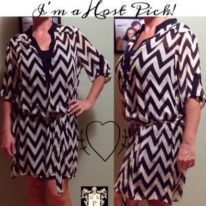 I just added this to my closet on Poshmark: NWT taupe & black Chevron chiffon belted dress. Price: $38 Size: XL
