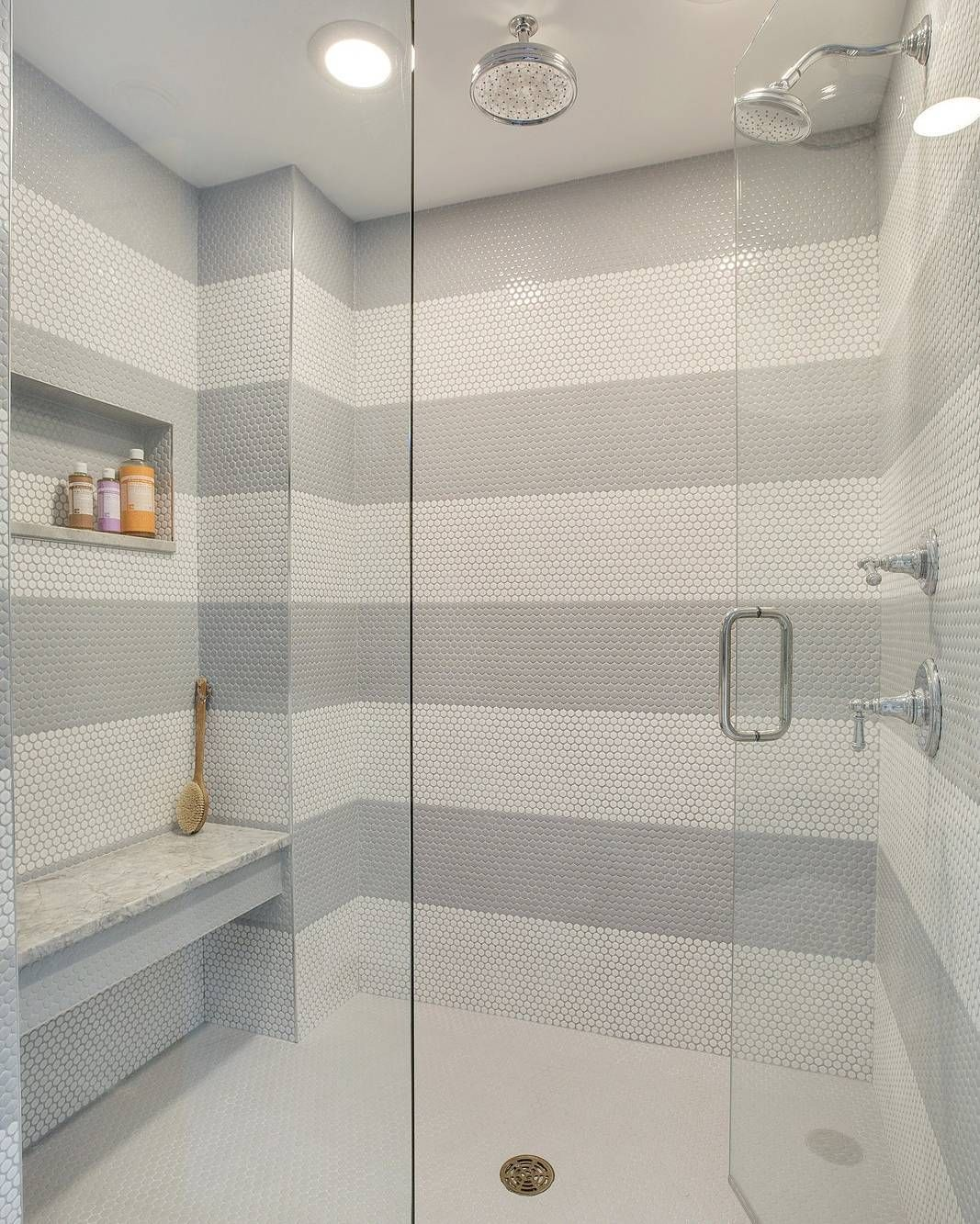Affordable And Beautiful Shower Tile Option White And Grey Penny - Cheap penny round tile