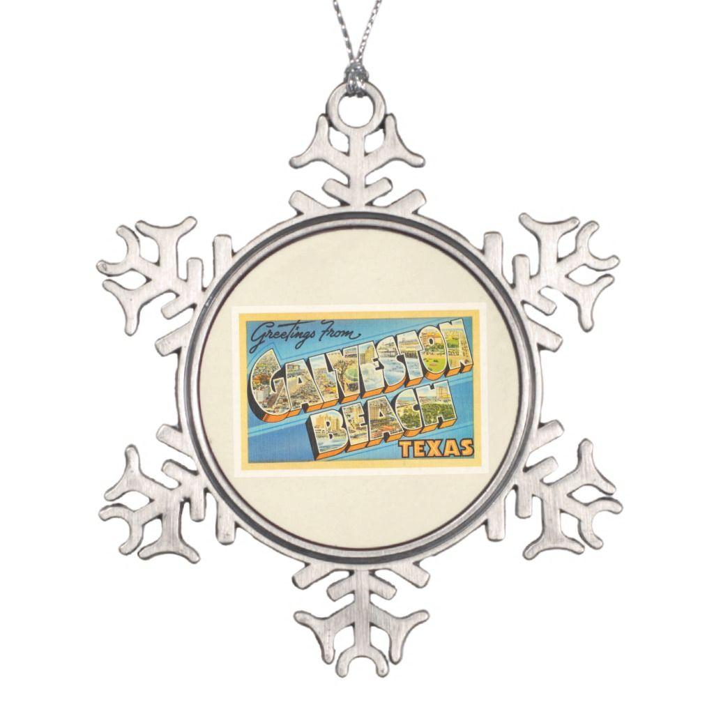 Galveston Beach Texas Tx Vintage Travel Souvenir Snowflake Pewter
