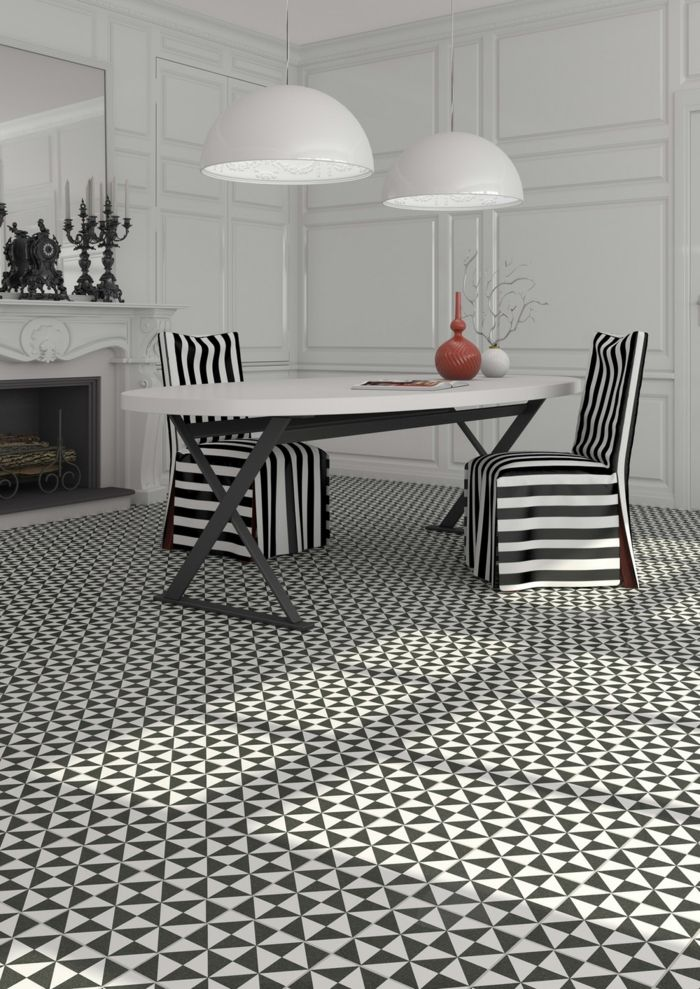 Muster Schwarz-Weiß wandgestaltung mit Farbe wohnzimmer einrichten - wohnzimmer design schwarz weis