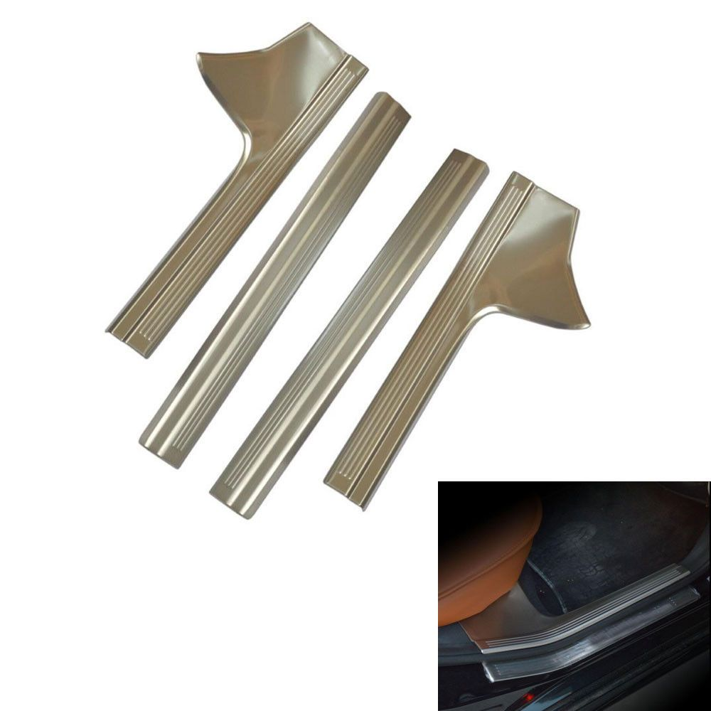 buy bbqfuka 4x stainless inner door sill entry scuff plate cover trim sticker fit for benz w212 e200 #steel #entry #doors