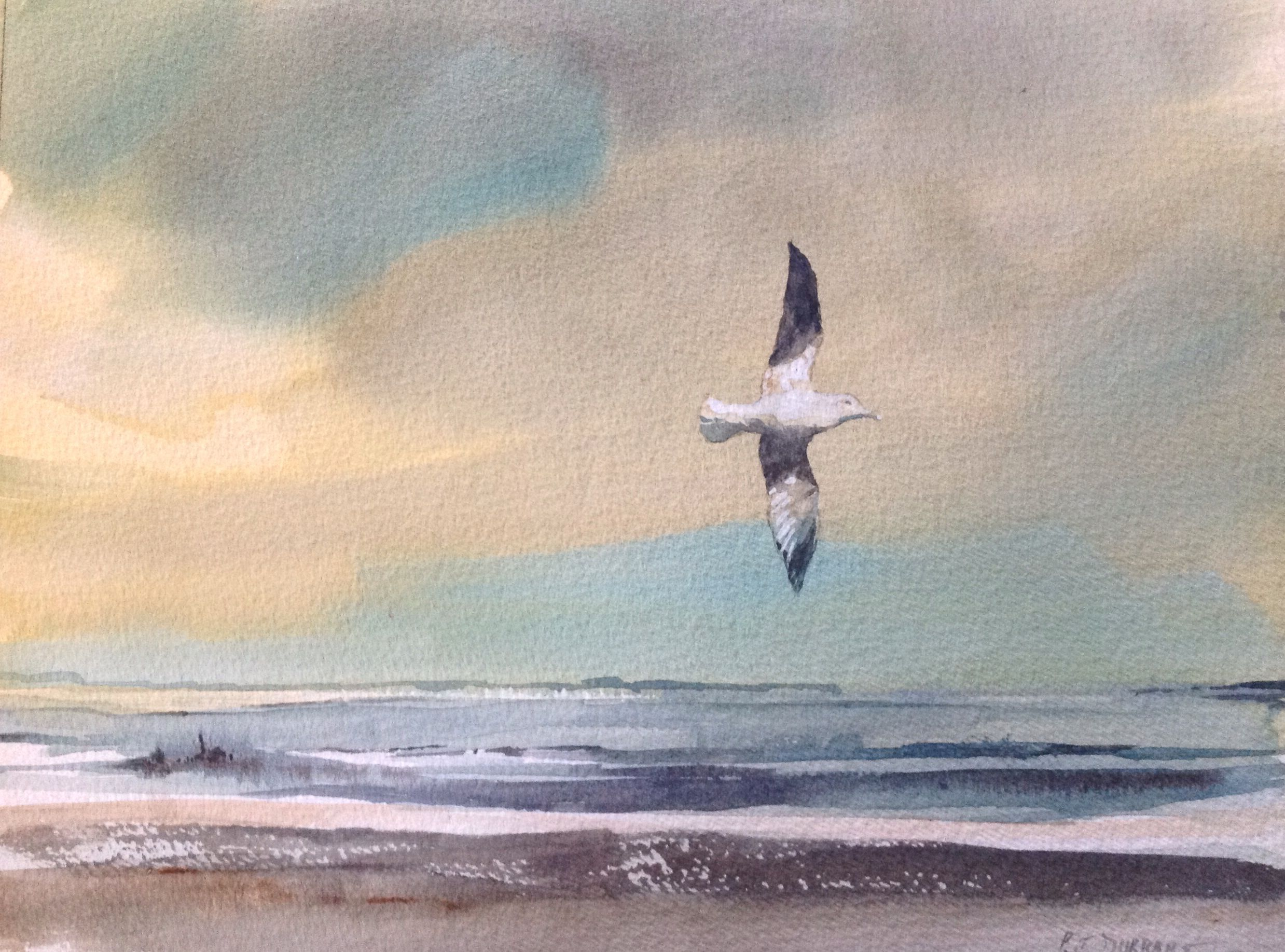 The Fly-past. Watercolour