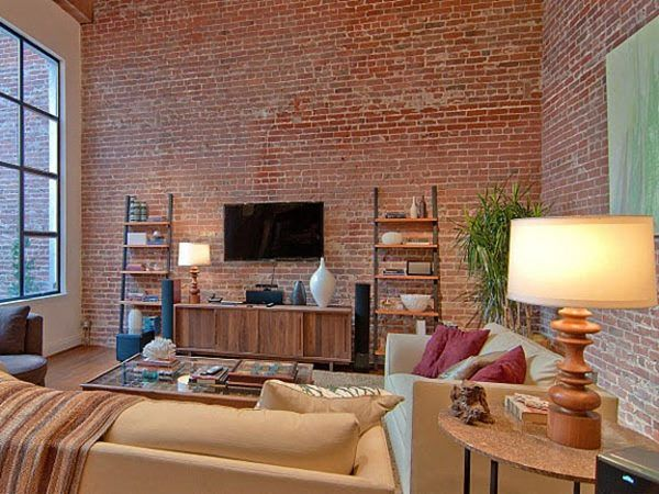exciting brick wall inside living room | Image result for face brick wall living room | Favorite ...