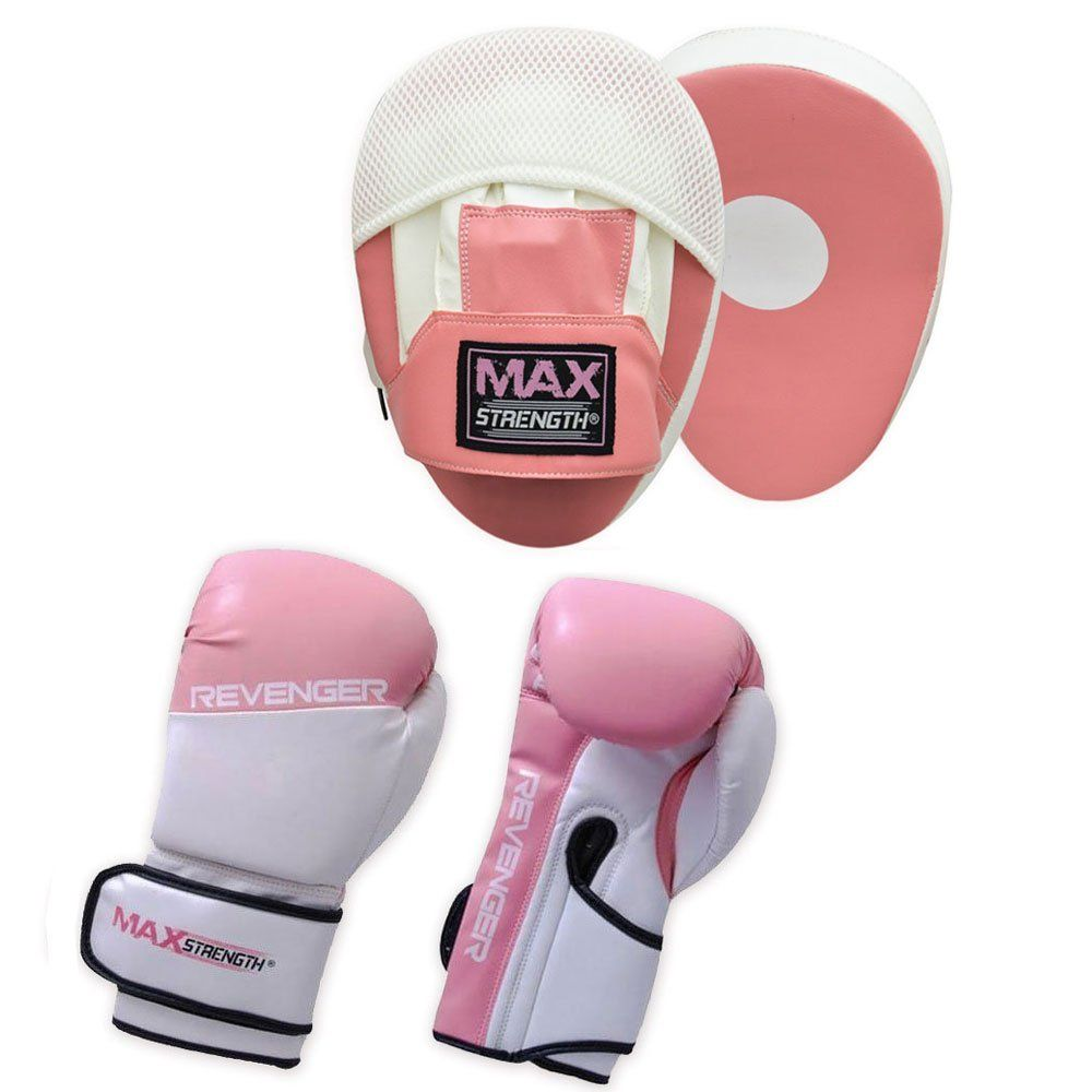 MAXSTRENGTH Pink Curved Focus Pads Hook /& Jabs Gloves Punch Bag Mitts Boxing MMA Kick Training