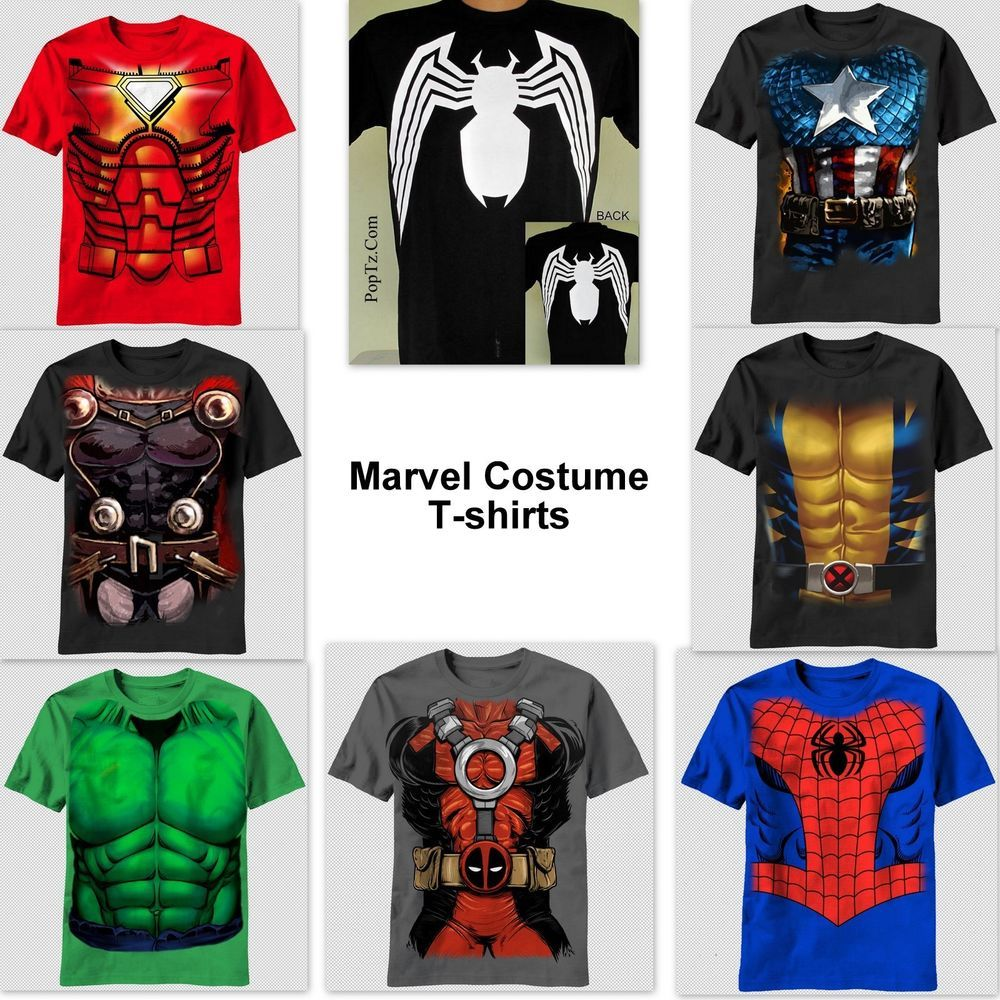 2ae22413e Captain America Iron Man Spiderman Wolverine Dead Pool Hulk Thor Costume T- shirt #MadEngine #GraphicTee