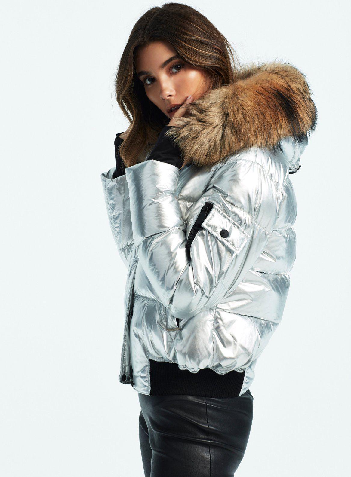 Skyler Silver Jackets Fur Hood Jacket Shiny Jacket [ 1587 x 1167 Pixel ]
