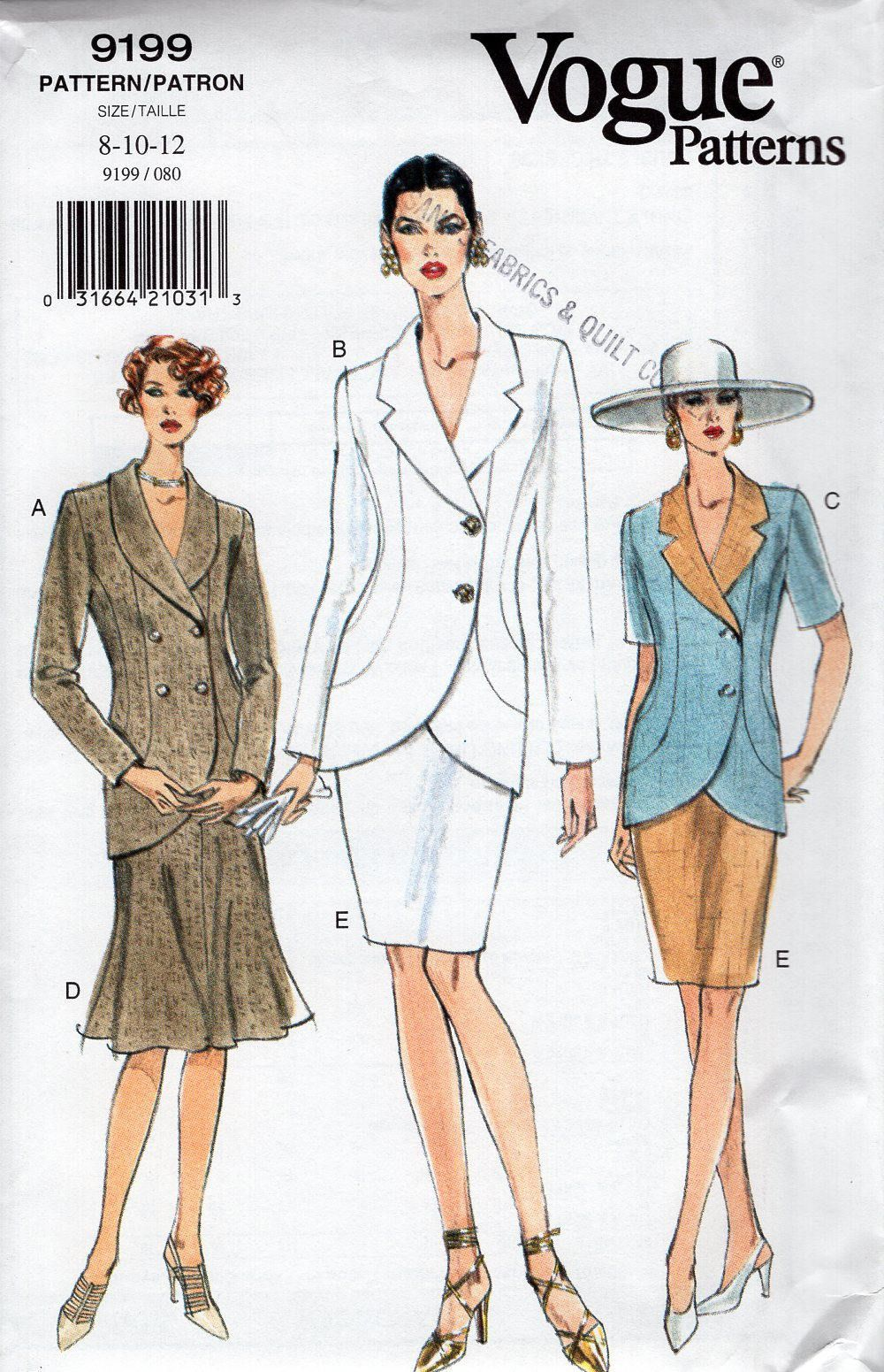 Vogue 9199 Free Us Ship Sewing Pattern Retro 1990s 90\'s Tulip Suit ...