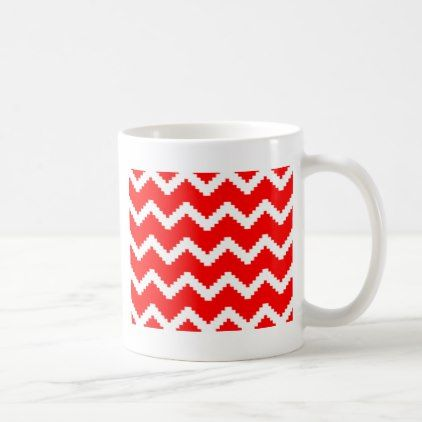 Abstract Geometric Pattern Red And White Coffee Mug