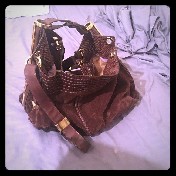 1bde384443e Jimmy Choo brown bag !READ DESCRIPTION! REAL Brown suede Jimmy Choo handbag.  Very