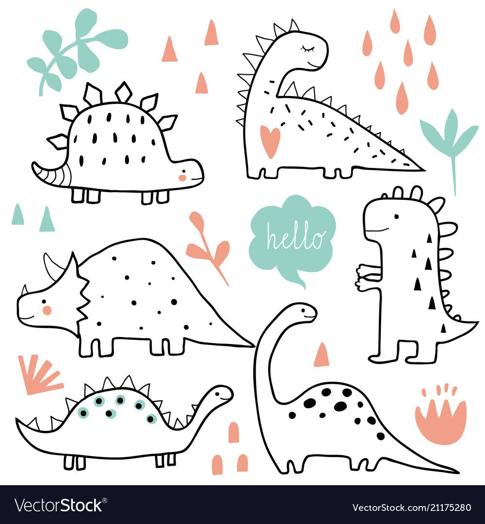 Cute dinosaurs and tropic plants Royalty Free Vector Image #dinosaurillustration