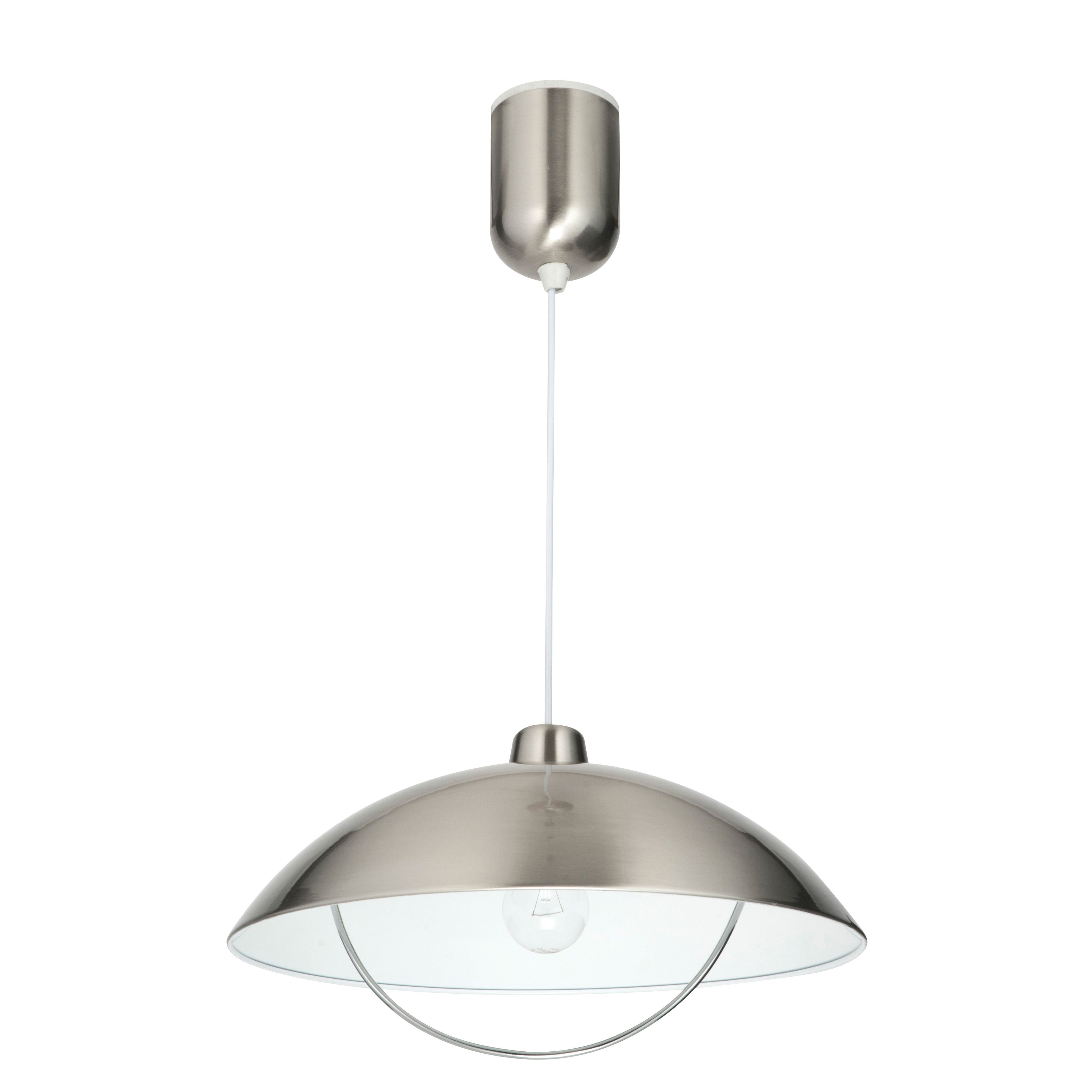 Sol Dome Brushed Chrome Effect Pendant Ceiling Light