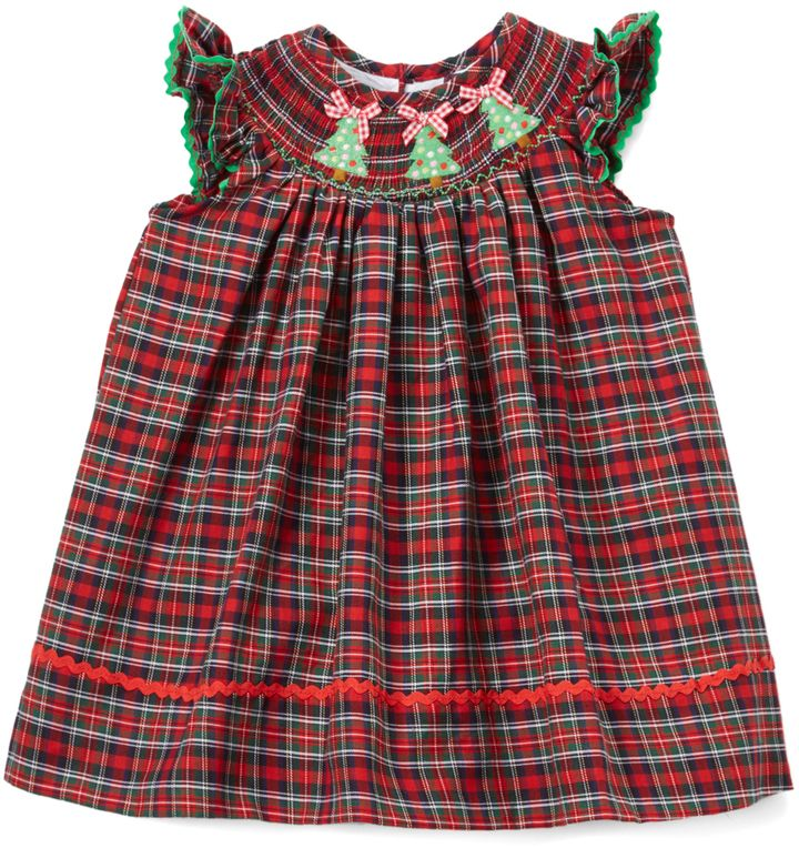 green red plaid christmas tree smocked bishop dress infant toddler girls