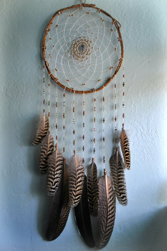 large striped peacock feather dreamcatcher by WildWanderess, $65.00