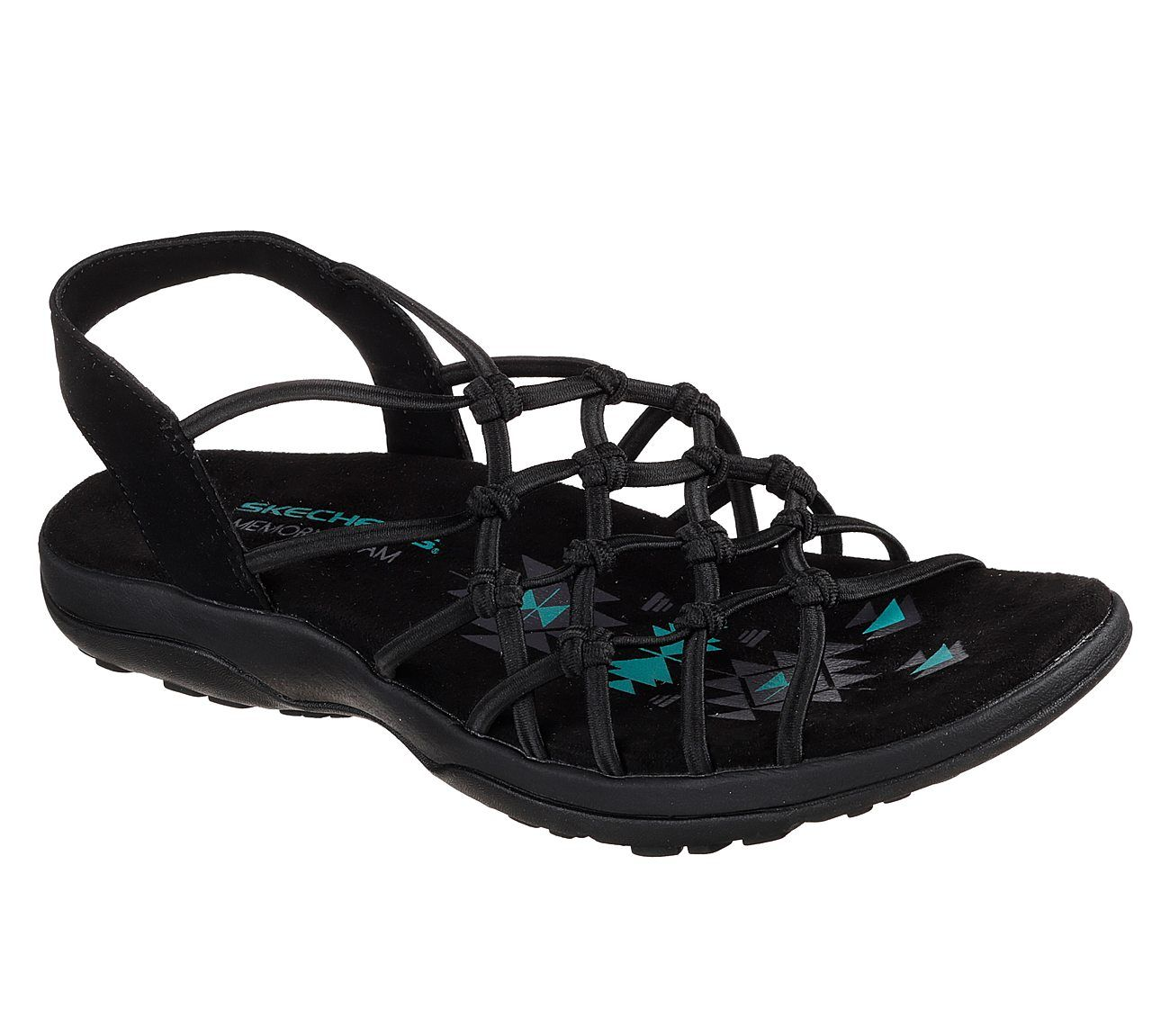 0a33ac426d1 Tie your warm weather style and comfort together perfectly with the SKECHERS  Reggae Slim - Forget Me Knot sandal. Soft stretch fabric upper in a sporty  ...