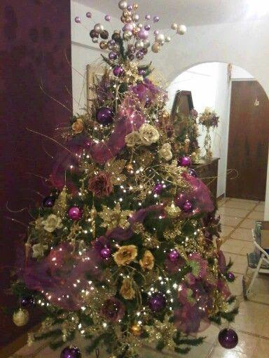 Rbol tonos morado y dorado arbol de navidad morados - Arbol de navidad morado ...