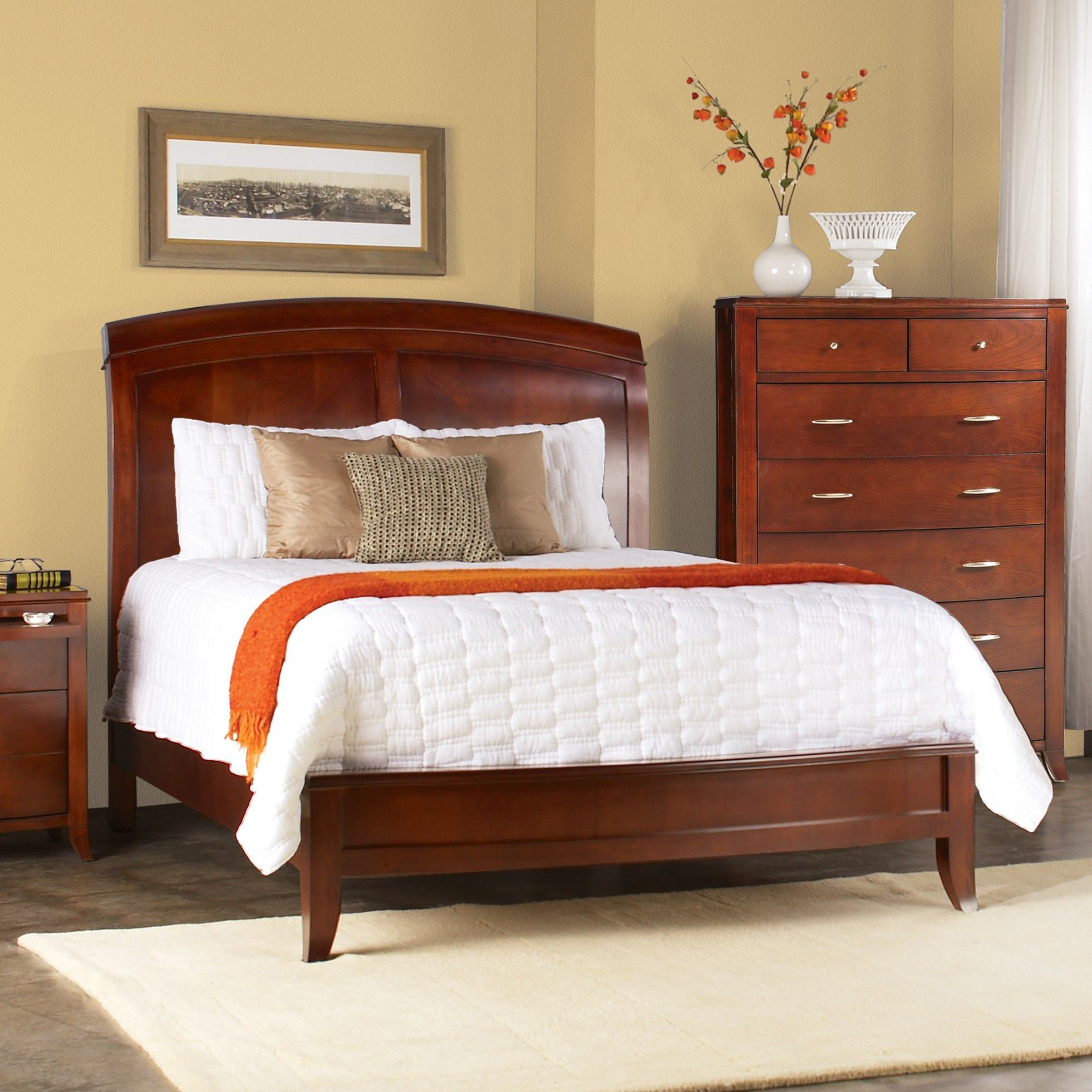 Enjoy this cinnamon queen-size wooden sleigh bed made from tropical ...