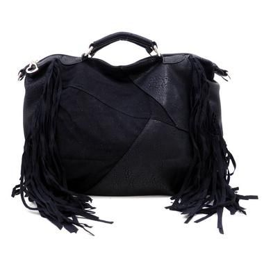 New Sexy Fringe Black Handbag/Purse Faux Suede an Leather, $45