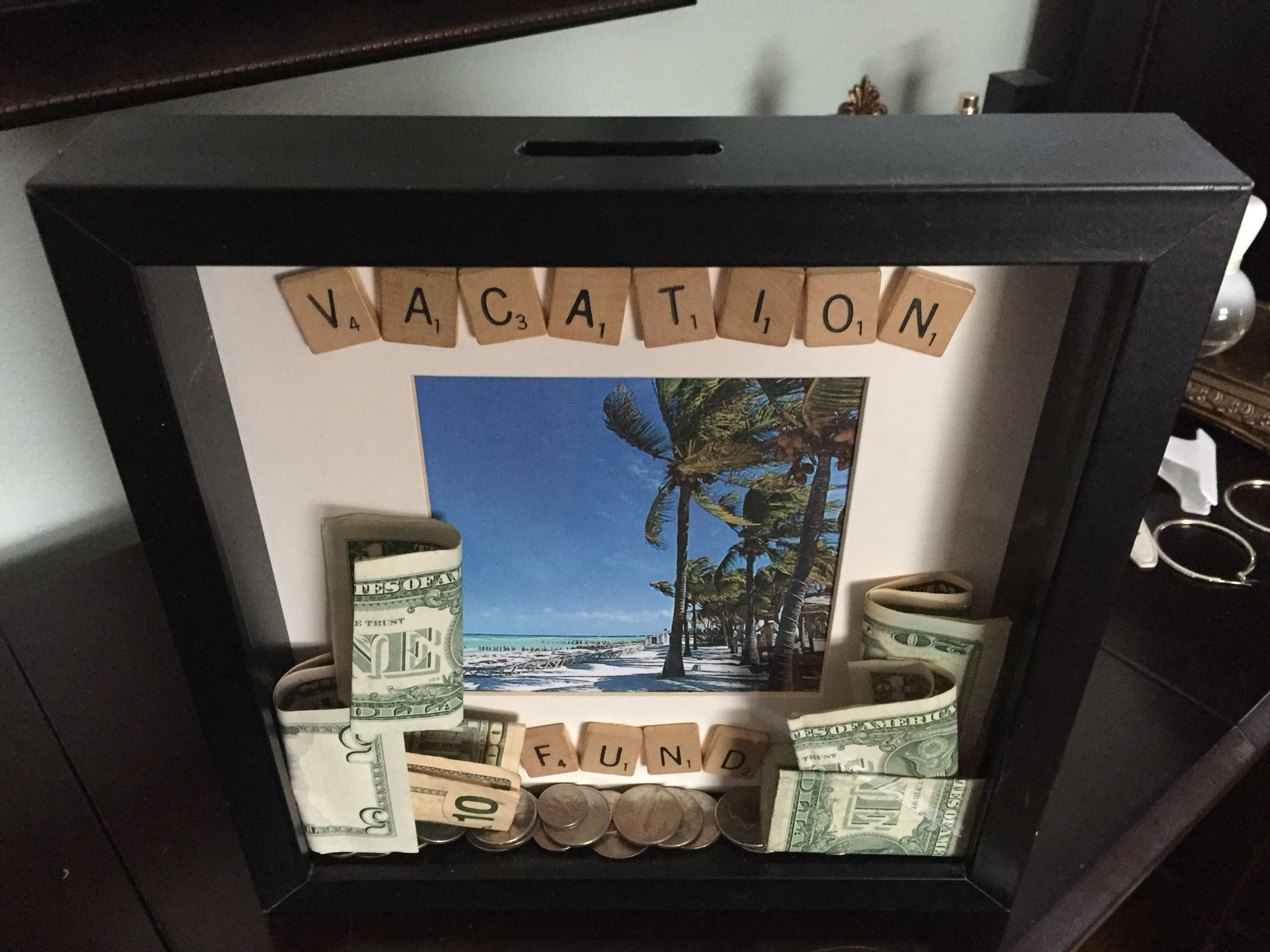 shadow box made into bank to give money as a gift. Black Bedroom Furniture Sets. Home Design Ideas