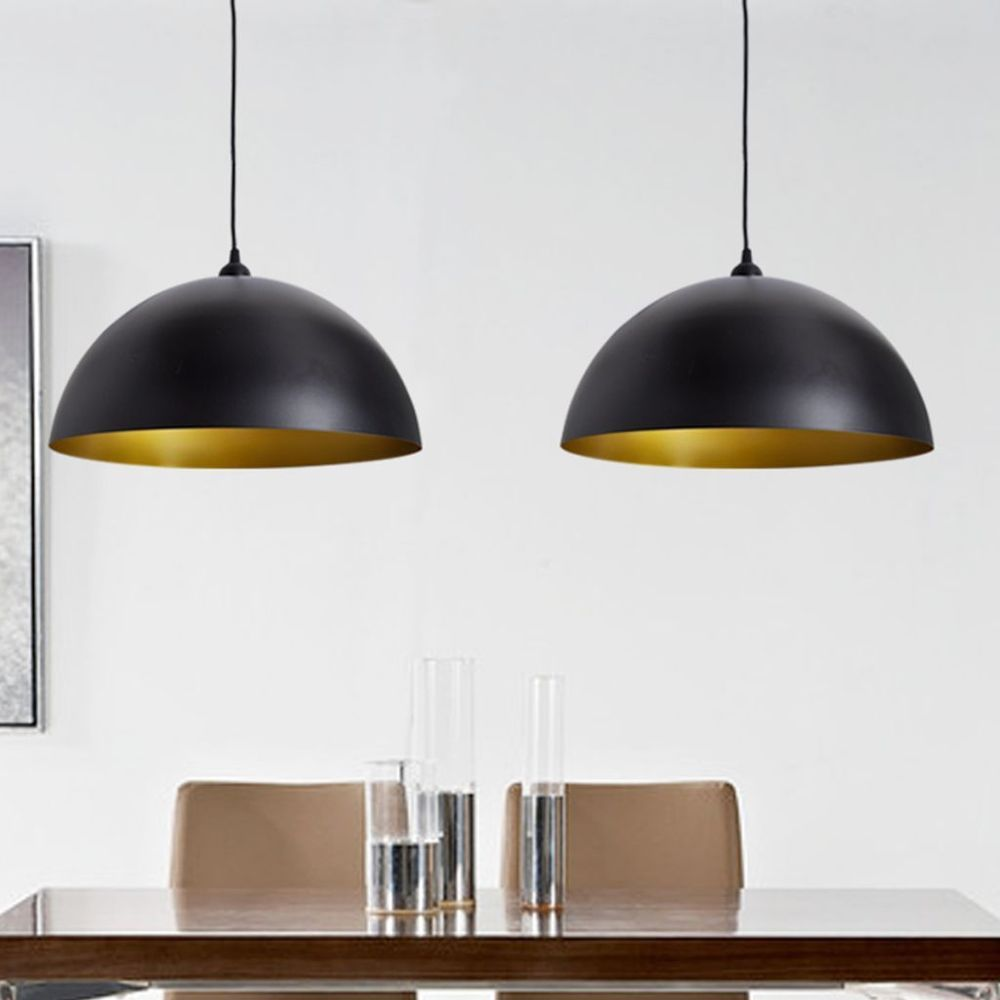 Ceiling lamp shade industrial light shades pendant hanging metal ceiling lamp shade industrial light shades pendant hanging metal black gold 2pc aloadofball Images