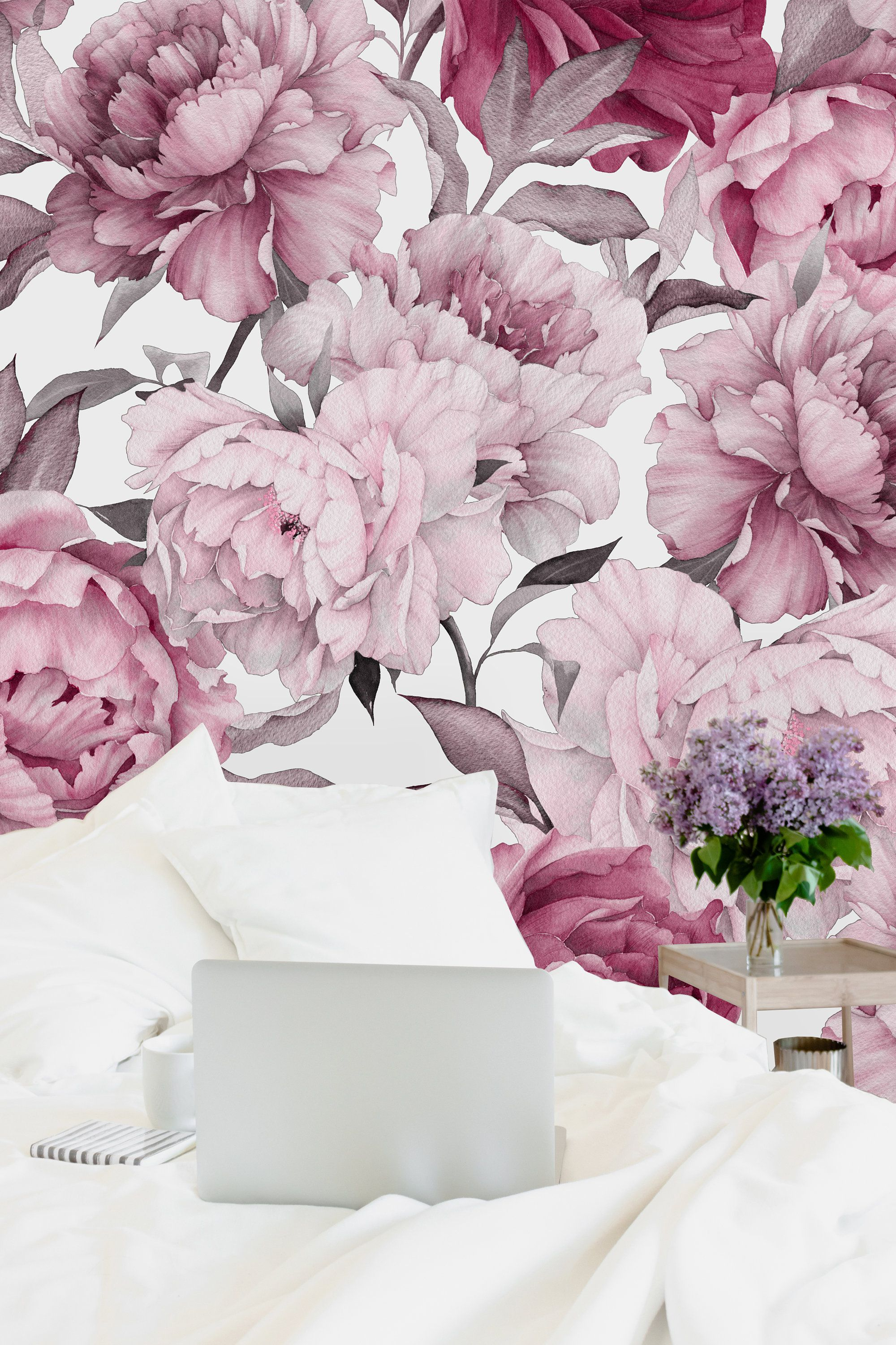 Pink Peony On White Background Removable Wallpaper Peel And Stick