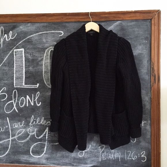 J. Crew Black Chunky Knit Cardigan Excellent condition. This is such a great sweater. I just have too many and needed to clean out the closet (don't worry I kept mine in gray ). Black. retail. First picture filtered. Size small. Will also work for an XS in my opinion. •0302161000• J. Crew Sweaters Cardigans
