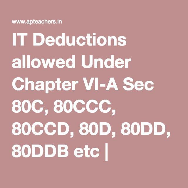 IT Deductions allowed Under Chapter VI-A Sec 80C, 80CCC ...