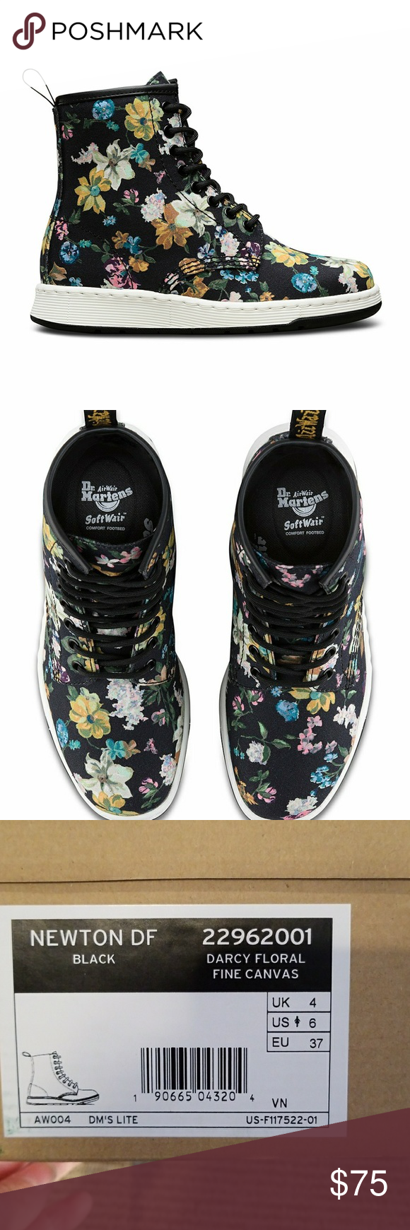 Dr. Martens Darcy Floral Newton 8-Eye Boot Dr. Martens Darcy Floral Newton 8-Eye Boot brand new in box. Just too big for me. So gorgeous! Dr. Martens Shoes Combat & Moto Boots