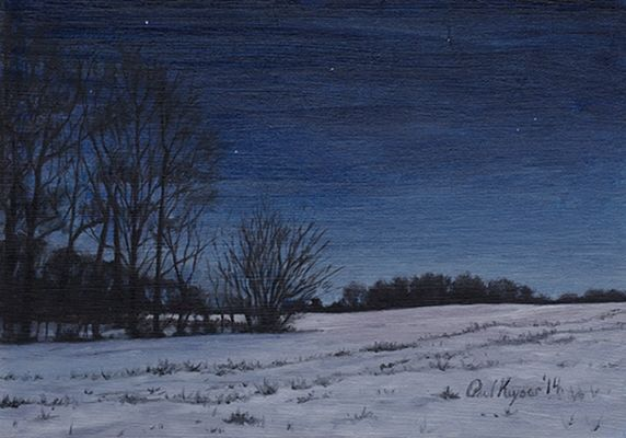 Snowy Field At Night Night Painting Snowy Field Night Painting Winter Landscape