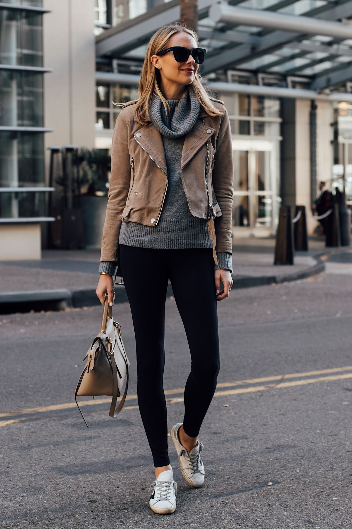 06a545494 Blonde Woman Wearing Blanknyc Tan Suede Moto Jacket Grey Turtleneck Sweater  Black Leggings Golden Goose Sneakers Celine Mini Belt Bag Fashion Jackson  San ...