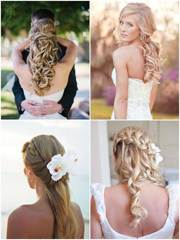 los mejores peinados para novias con cabello largo suelto recogido o