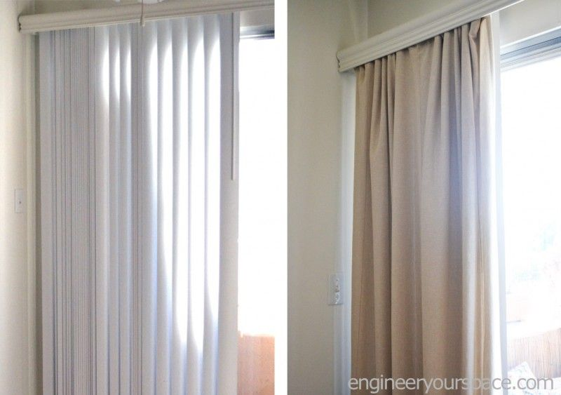 How to conceal vertical blinds with curtains no tools or for Hardware for hanging curtains